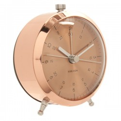 Karlsson Button Alarm Clock - Copper - metal 24 hour alarm clock