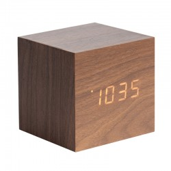 Karlsson Cube LED Clock - Dark Wood - wooden block alarm clock