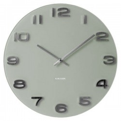 Karlsson Vintage Round Glass Clock - designer grey glass clock