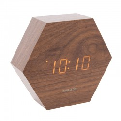 Karlsson Hexagon LED Clock (Dark Wood) - Red Candy