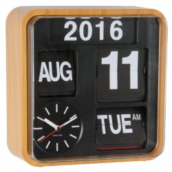 Karlsson Mini Flip Clock (Wood ) - Red Candy