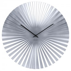 Karlsson Sensu Clock Large - Silver - faceted wall clock