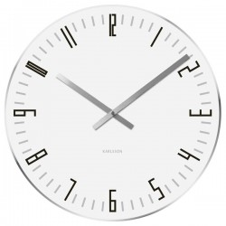 Karlsson Slim Index Clock - white glass wall clock