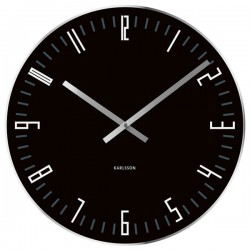 Karlsson Slim Index Clock - black glass wall clock