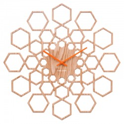 Karlsson Sunshine Hexagon Clock - Wood - stencil wall clock