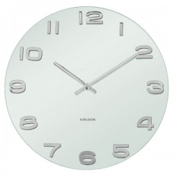 Vintage Round Glass Wall Clock - White - Stylish White Clock