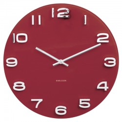 Karlsson Vintage Round Glass Clock - Burgundy Red - wall clock