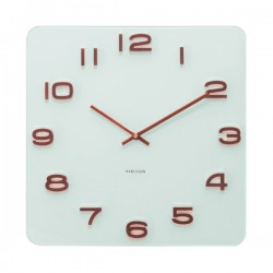 Karlsson Vintage Square Glass Clock (White & Copper) - Red Candy
