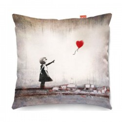 Banksy Heart Balloon Sofa Cushion (2 Sizes) - Red Candy