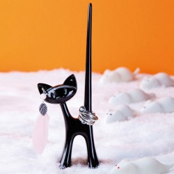 Koziol Miaou Ring Stand (Black) - Red Candy
