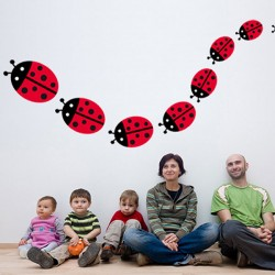 Family Ladybird Wall Sticker Set - Red Candy