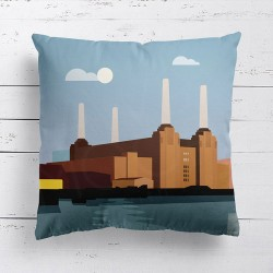 Battersea Power Station London Cushion - Red Candy