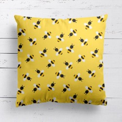 Bees Yellow Pattern Cushion - Red Candy