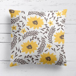 Blooming Yellow Flowers Cushion - Red Candy