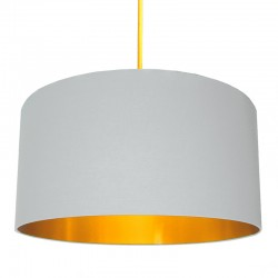 Love Frankie Cotton Lampshade (Cloud Grey & Gold) - Red Candy