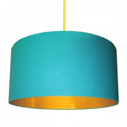Cotton Lampshade - Sky Blue & Gold - Love Frankie