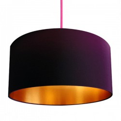 Love Frankie Fabric Lampshade (Damson & Gold) - Red Candy
