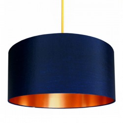 Fabric Lampshade - Midnight Blue & Brushed Copper - Love Frankie