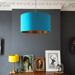 Indian Silk Lampshade - Aqua & Brushed Copper - drum lampshade