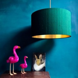 Indian Silk Lampshade - Forest Green & Gold - Love Frankie