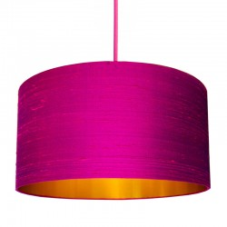 Indian Silk Lampshade - Hot Pink & Brushed Copper - Love Frankie