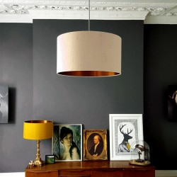 Love Frankie Indian Silk Lampshade (Pebble & Brushed Copper) - Red Candy