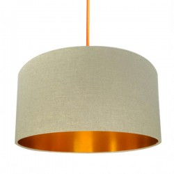 Linen Lampshade - Oatmeal & Gold - Love Frankie cream lampshade