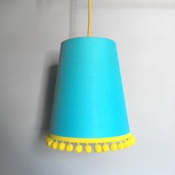 Pom Pom Lampshade - Turquoise - Love Frankie fringed lampshade