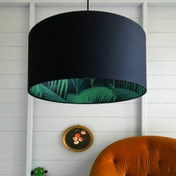 Silhouette Cotton Lampshade - Palm Jungle in Black - leaf print shade