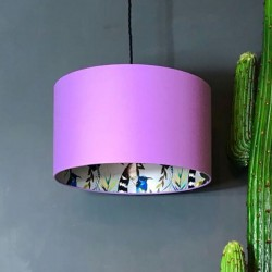 Silhouette Cotton Lampshade - Silver Lemur in Lilac - Love Frankie