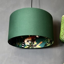Silhouette Cotton Lampshade (Teal Lemur in Hunter Green) - Red Candy