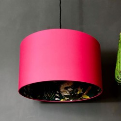 Silhouette Cotton Lampshade (Teal Lemur in Watermelon Pink) - Red Candy