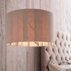 Silhouette Linen Lampshade (Cole & Son The Woods) - Red Candy