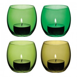 LSA Coro Tealight Holders - Leaf - green glass tealights