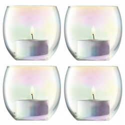 LSA Pearl Tealight Holders - set of 4 iridescent tealight holders