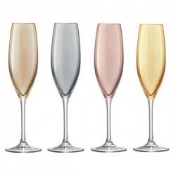 LSA Polka Champagne Glasses - metallic coloured champagne flutes