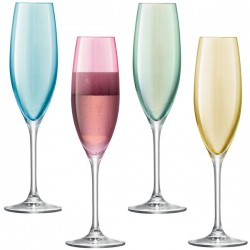 LSA Polka Champagne Glasses - pastel coloured champagne flutes
