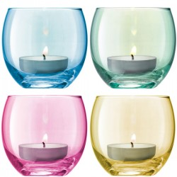 LSA Polka Tealight Holders (Pastels Set of 4) - Red Candy