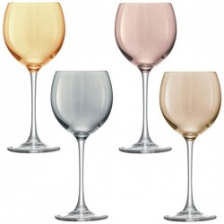 LSA Polka Wine Glasses - set of 4 metallic coloured wine glasses