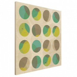 Circle Design Square Wood Print - colourful wooden wall art
