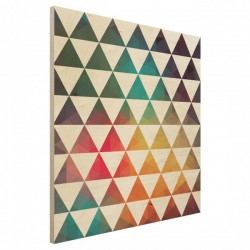Colour Geometry Square Wood Print - Red Candy