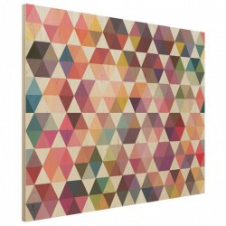 Hexagon Facets Wood Print - geometric wooden wall decor