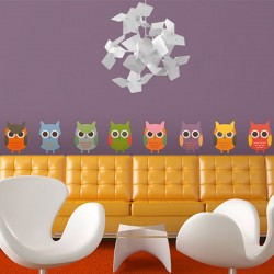 Owl Parade Wall Sticker Set - animal wall decor