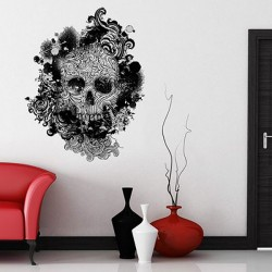 Skull Swirls Wall Sticker - designer skull wall decal