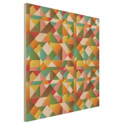 Triangles Pattern Wood Print - colourful wooden wall hanging