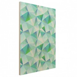 Turquoise Vector Wood Print - green pattern wooden wall mount