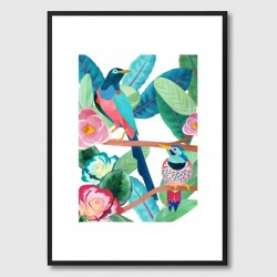 Birds Framed Print - tropical bird and leaf art - Goed Blauw