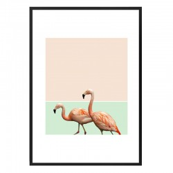 Flamingo Pastel Art Framed Print - Red Candy