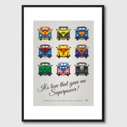 My Superhero VW Universe Framed Print - comic book campervan art