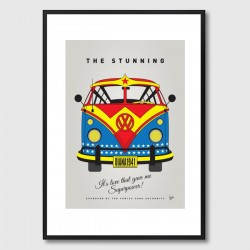 My Superhero VW Wonder Woman Framed Print - comic campervan art